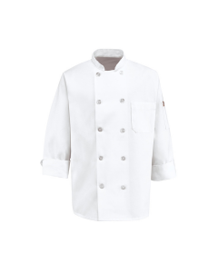 7 oz. Ten Pearl Button Chef Coat Red Kap (Left Sleeve Thermo Pocket) - 0415