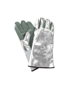 "NSA Regular Size 13"" Winged Thumb Aluminized Rayon Back Glove with Leather Palm - DJXG395"