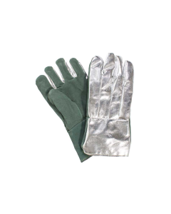 "NSA Large Size 14"" Straight Thumb Aluminized Rayon Back Glove with Leather Palm - G51MLLW14002"