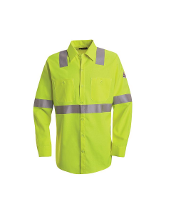 "Bulwark Hi-Visibility Flame-Resistant Long Sleeve Work Shirt - SMW4 ""FREE SHIPPING"""